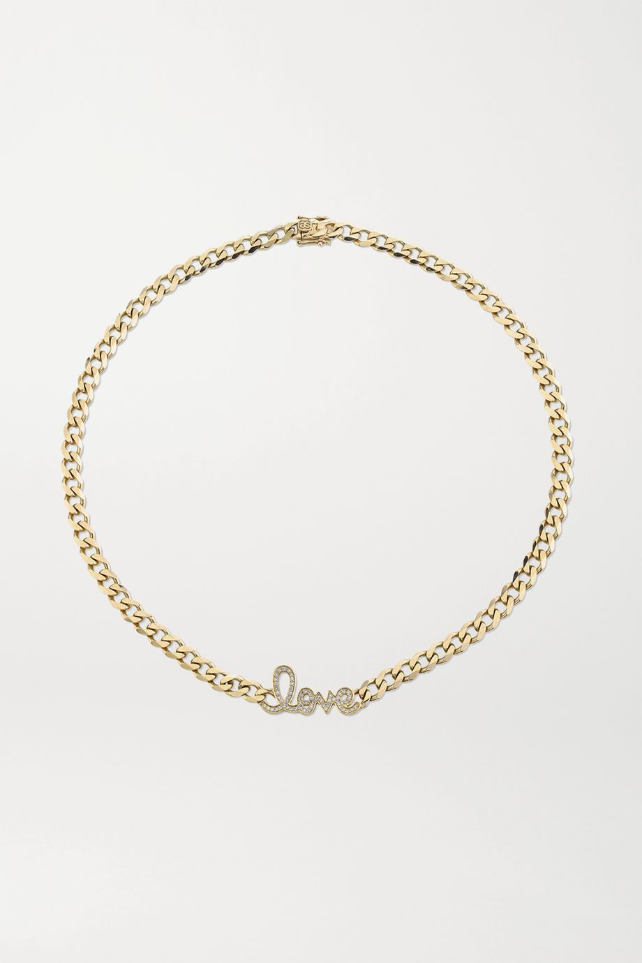 Sydney Evan Large Love 14-karat gold diamond necklace
