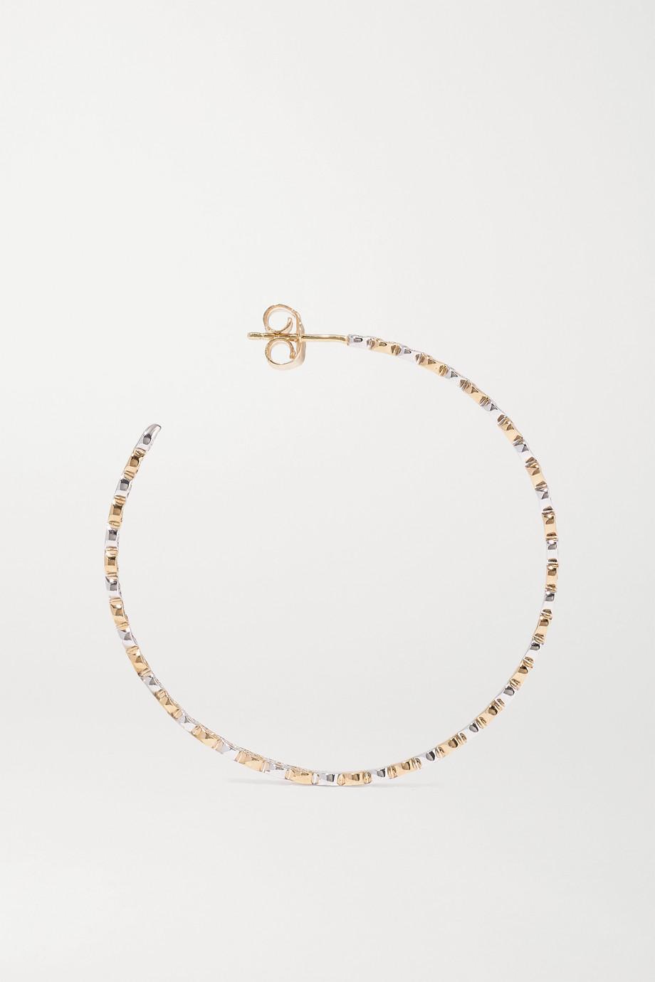 Sydney Evan Large Eternity Heart 14-karat yellow and white gold diamond hoop earrings