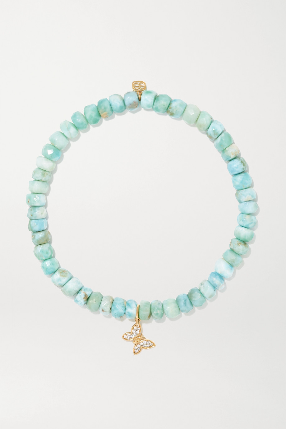 Sydney Evan Tiny Butterfly 14-karat gold, diamond and larimar bracelet