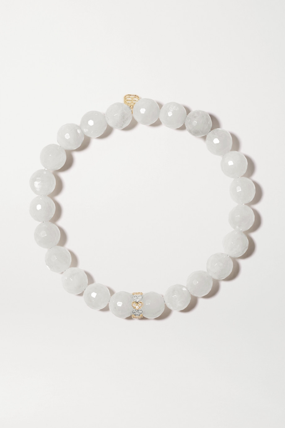 Sydney Evan Eternity Heart 14-karat yellow and white gold, moonstone and diamond bracelet