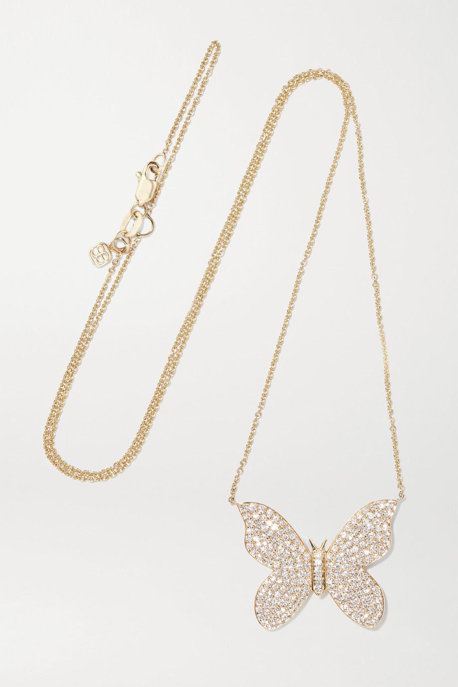Sydney Evan Large Butterfly Kette aus 14 Karat Gold mit Diamanten
