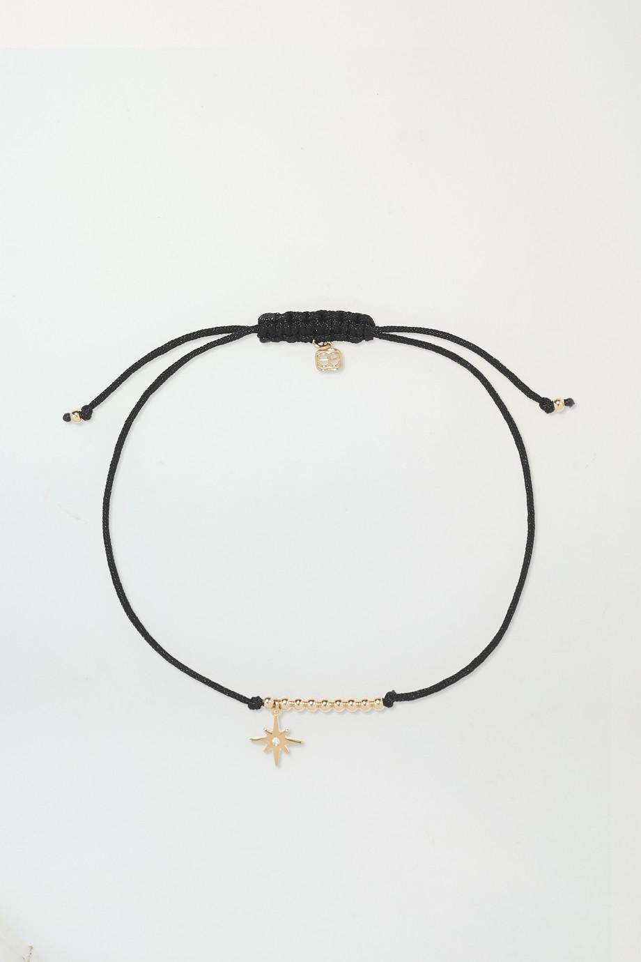Sydney Evan Starburst 14-karat gold, cord and diamond bracelet
