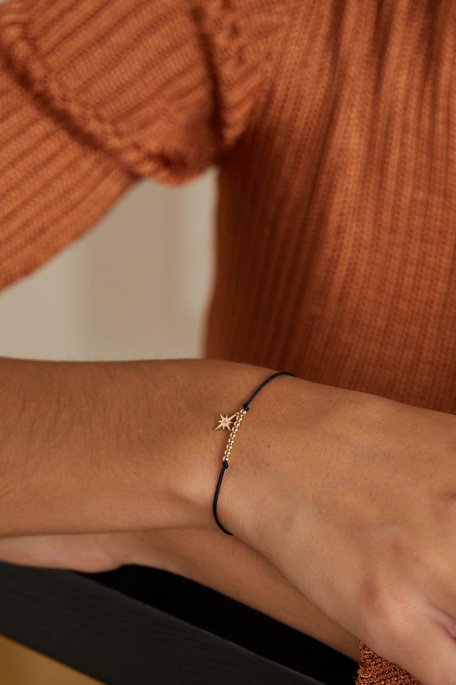 Sydney Evan Starbust Armband aus Kordel mit Details aus 14 Karat Gold und Diamant