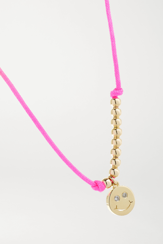 Sydney Evan Bracelet en or 14 carats, corde fluo et diamants Happy Face