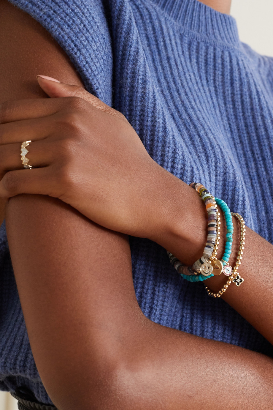 Sydney Evan Happy Face 14-karat gold multi-stone bracelet