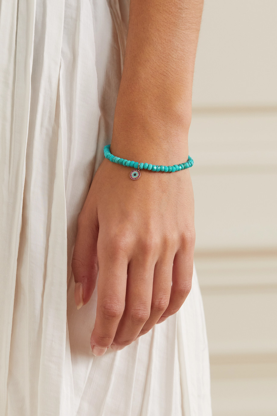 Sydney Evan Evil Eye 14-karat gold, enamel, turquoise and ruby bracelet