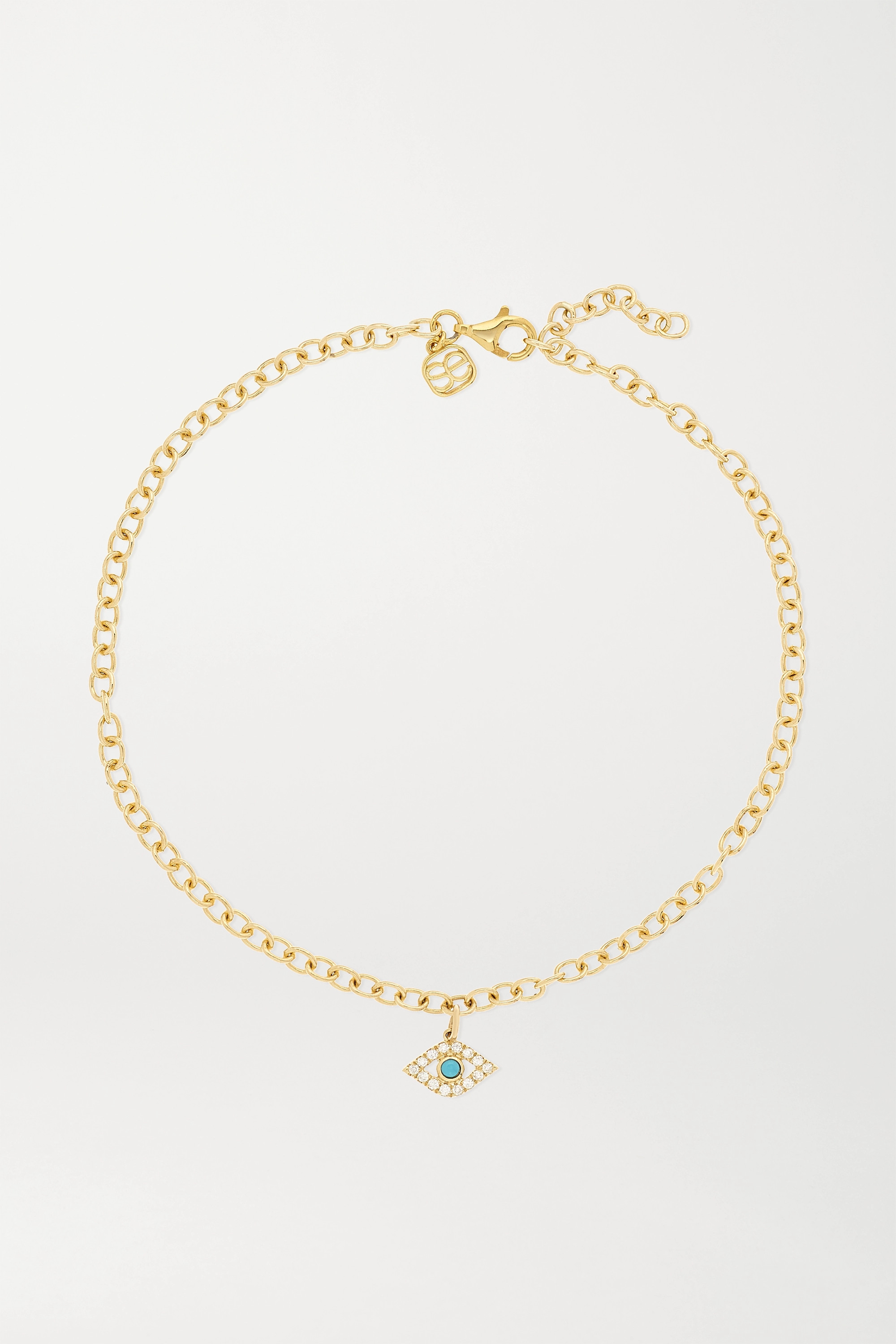 Sydney Evan Large Evil Eye 14-karat gold, diamond and turquoise anklet