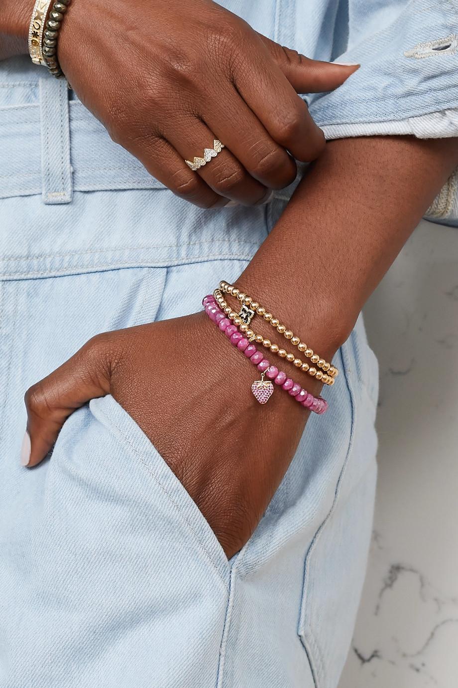 Sydney Evan Strawberry 14K 黄金、月长石、红宝石手链