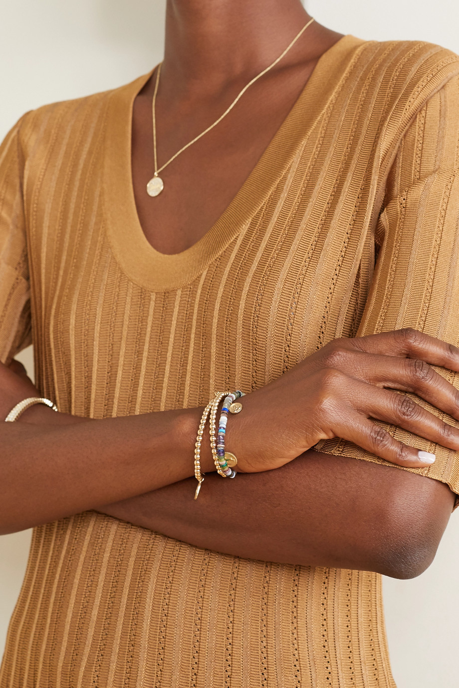 Sydney Evan 14-karat gold multi-stone bracelet