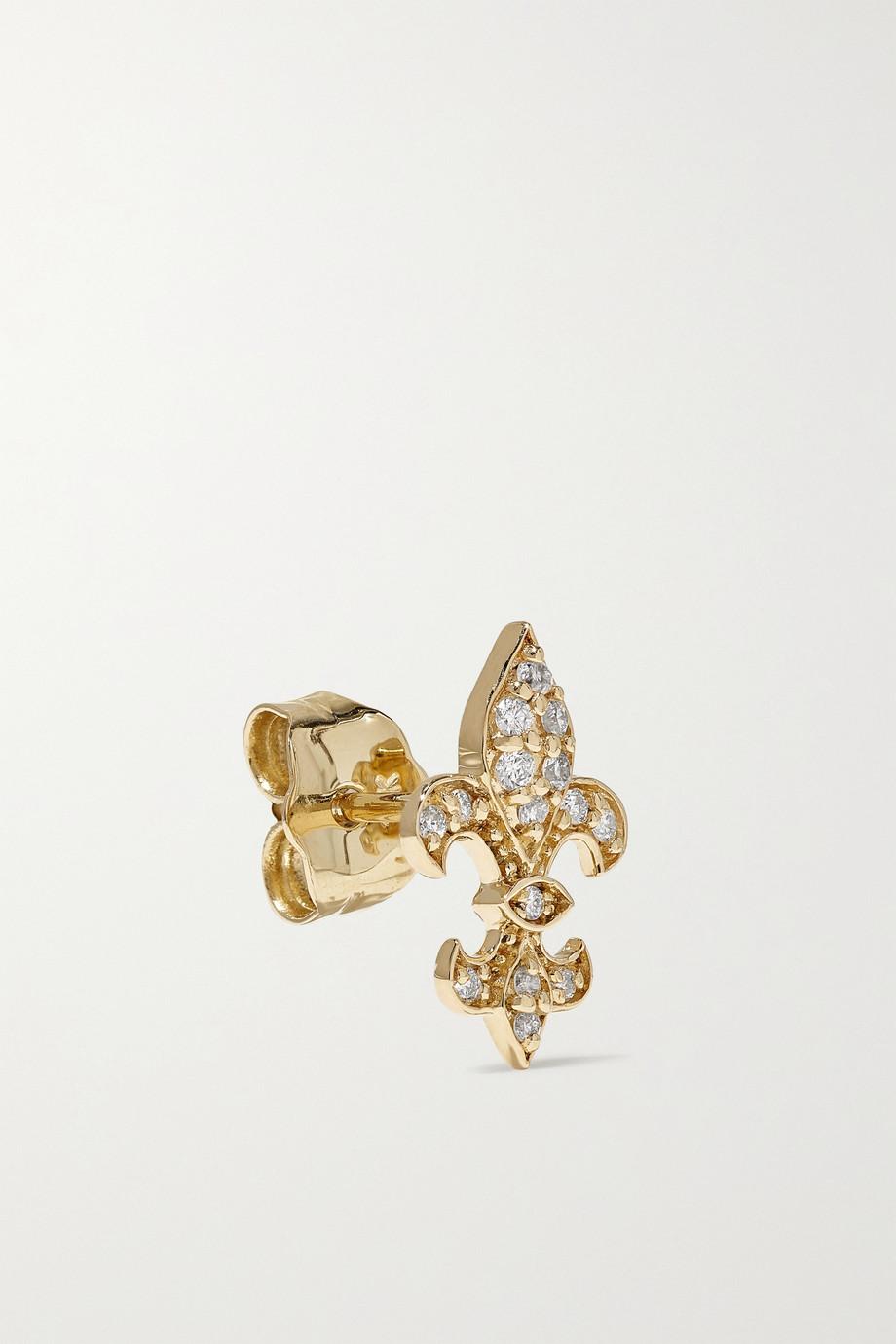Sydney Evan Fleur de Lis 14-karat gold diamond earrings