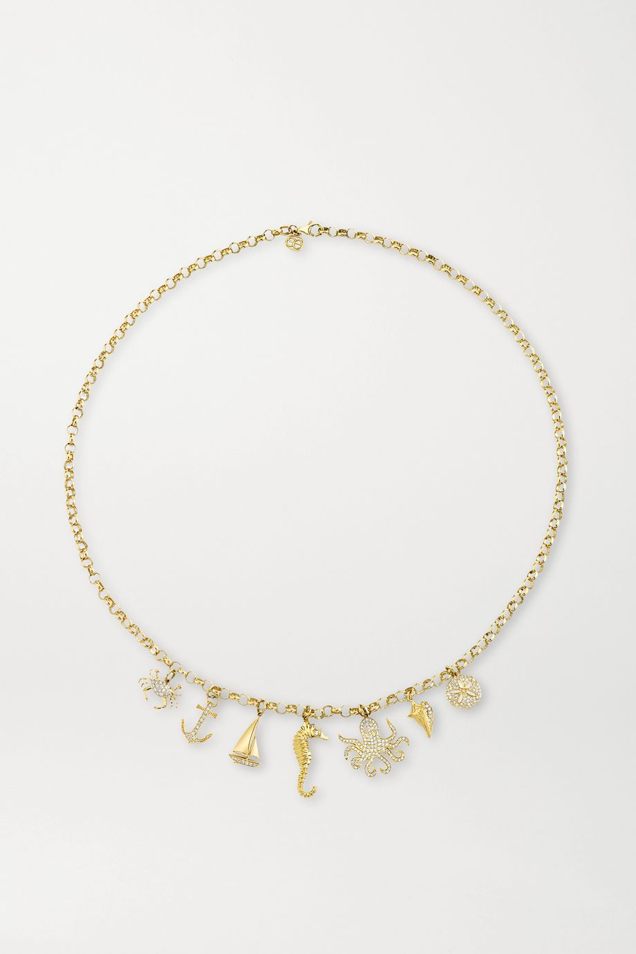 Sydney Evan Nautical 14-karat gold diamond necklace