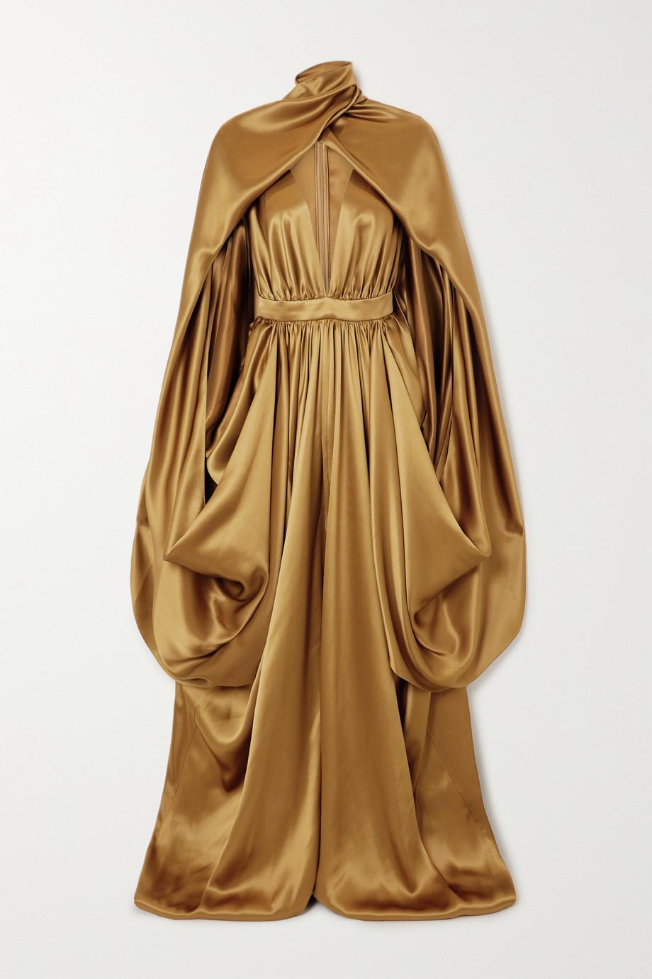 Balmain Robe aus Seidensatin mit Cape-Effekt