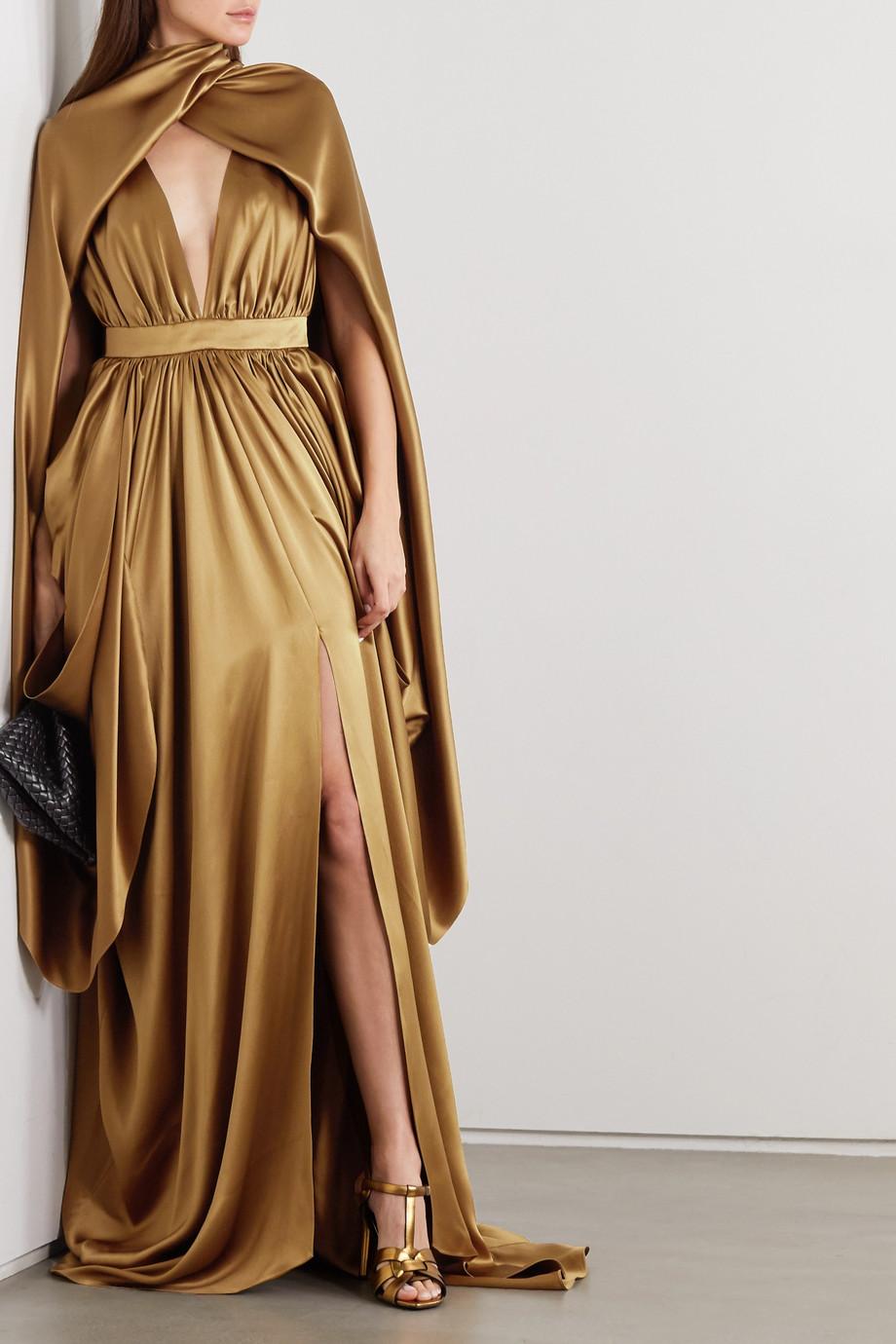 Balmain Draped cape-effect silk-satin gown
