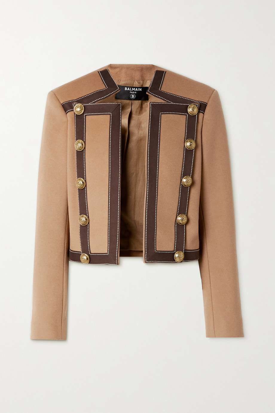 Balmain Button-embellished cotton-trimmed wool and cashmere-blend blazer