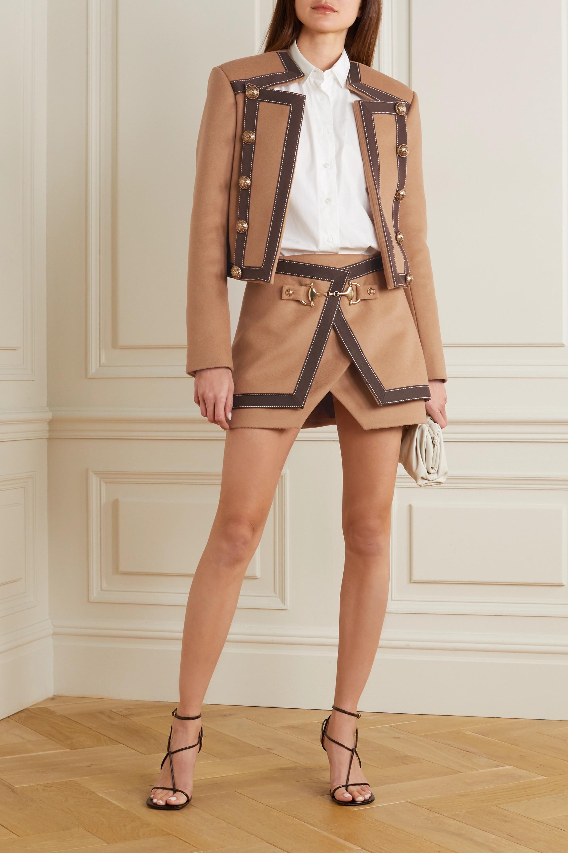 Balmain 纽扣缀饰纯棉边饰羊毛羊绒混纺西装外套