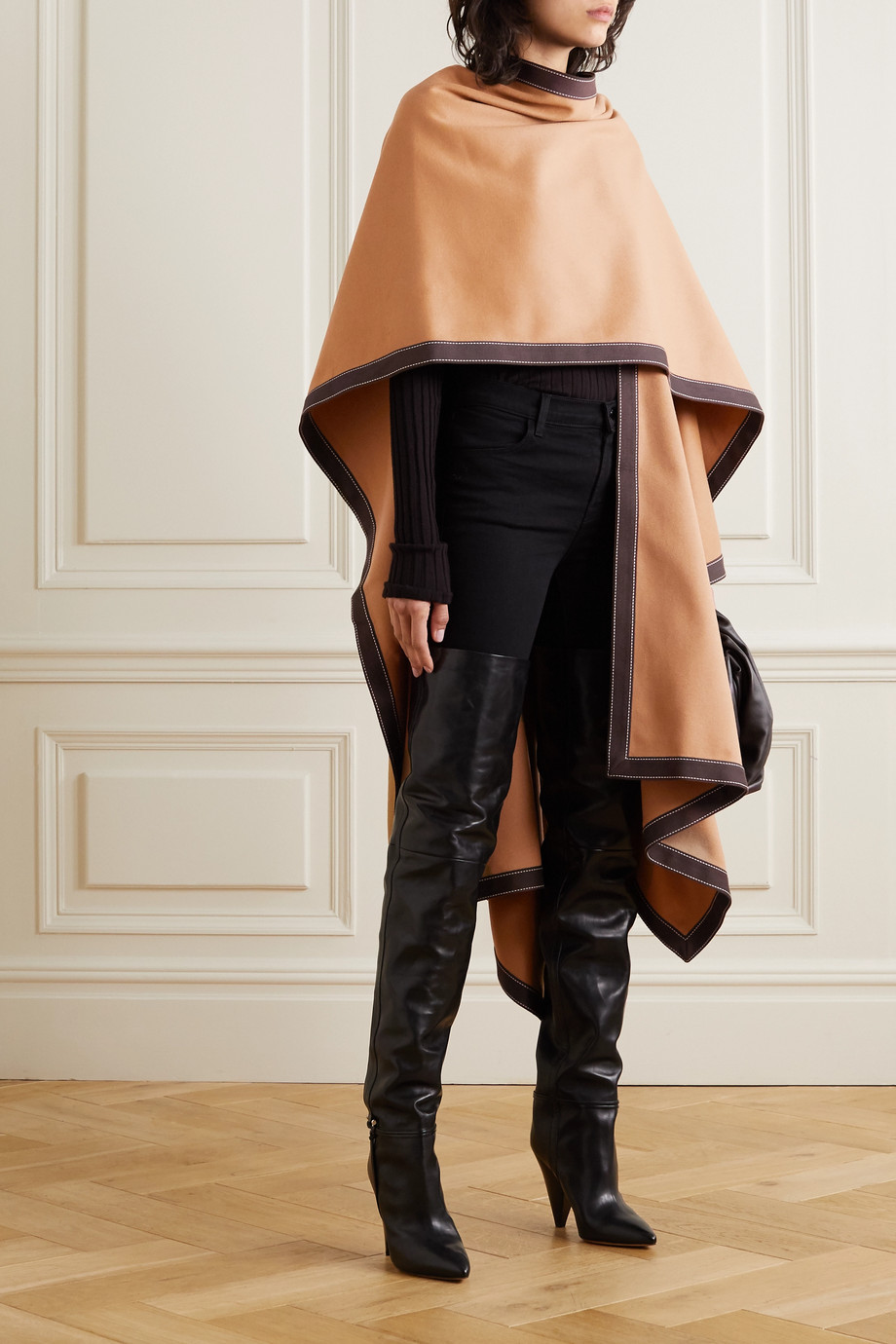 Balmain Draped cotton-trimmed wool and cashmere-blend cape