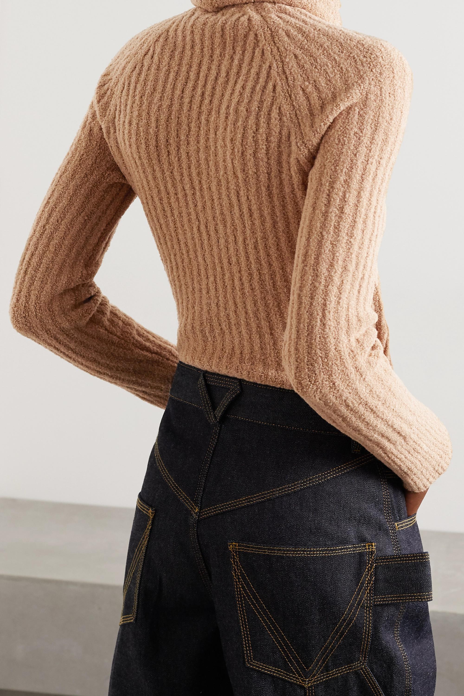 Balmain Button-embellished ribbed wool-blend bouclé turtleneck sweater