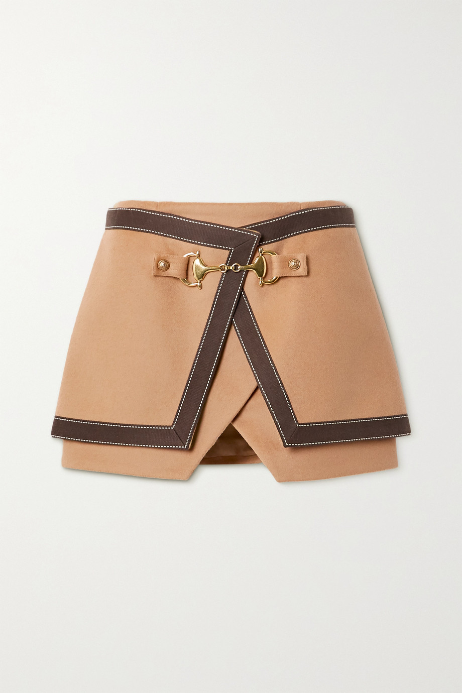 Balmain Layered cotton-trimmed wool and cashmere-blend mini skirt