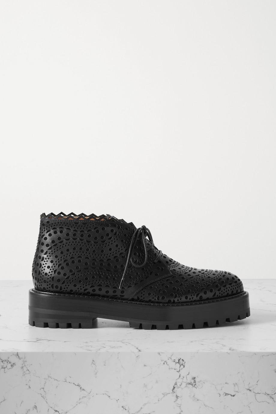 Alaïa Chaussures plates en cuir découpé au laser