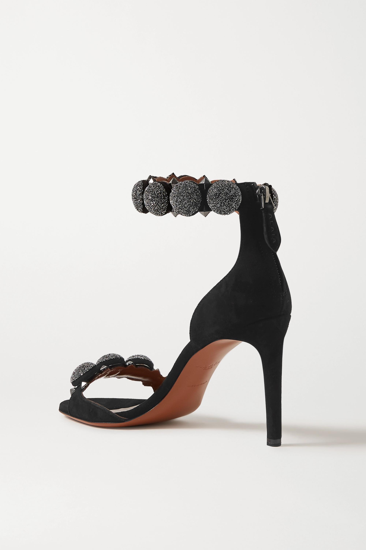 Black Bombe 90 Crystal-embellished Studded Suede Sandals   Alaïa
