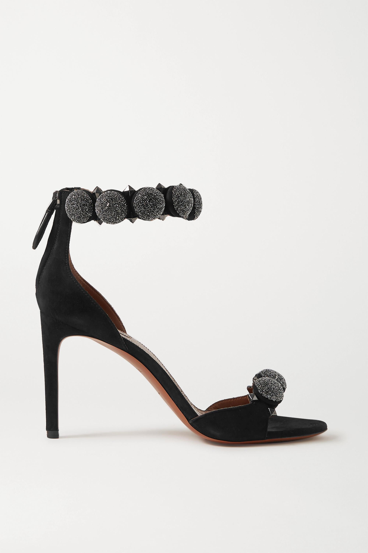 Alaïa Bombe 90 crystal-embellished studded suede sandals
