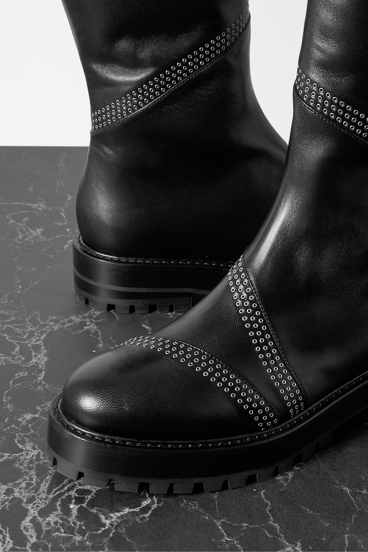 Alaïa Eyelet-embellished leather knee boots