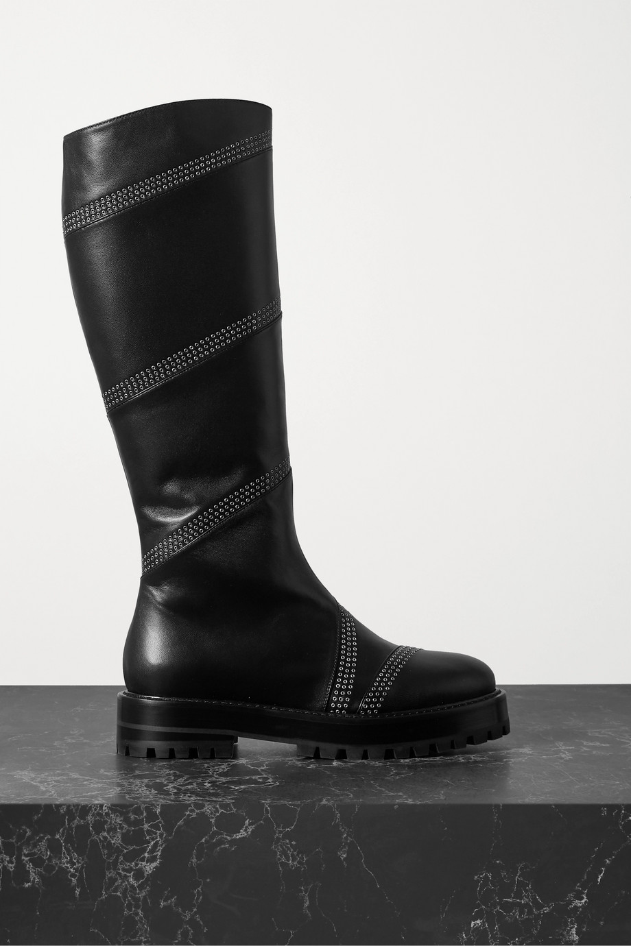 Alaïa Eyelet-embellished leather knee boots