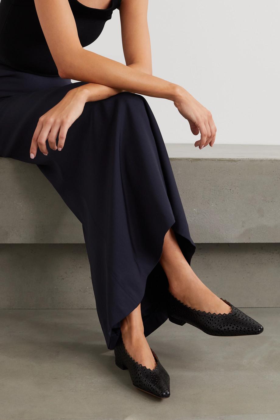 Alaïa Laser-cut leather point-toe flats