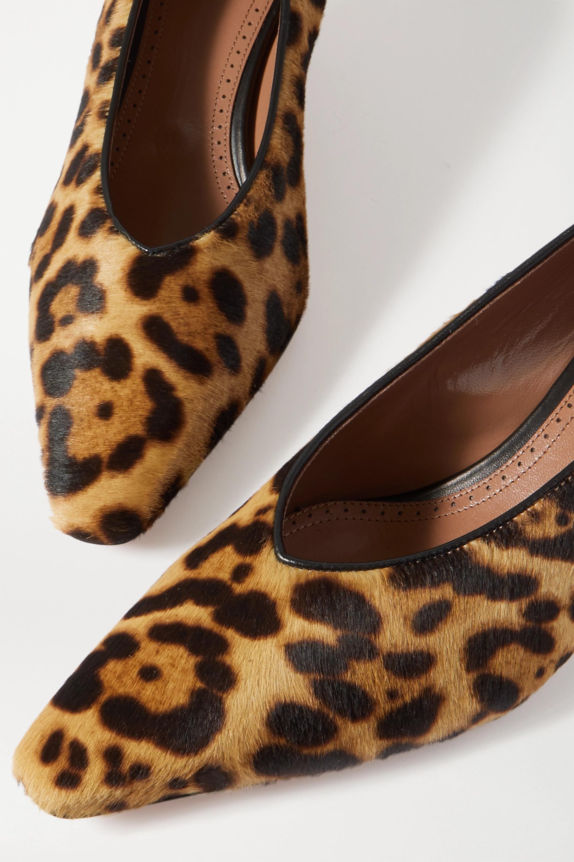 Alaïa 55mm leather-trimmed leopard-print calf hair pumps
