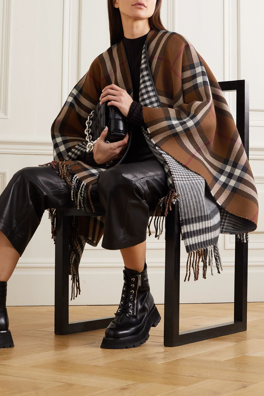 Burberry Leather-trimmed fringed checked wool cape