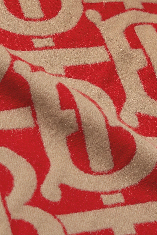 Burberry Fringed cashmere-jacquard scarf