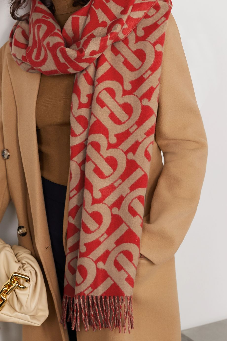 Burberry Fringed cashmere-jacquard scarf
