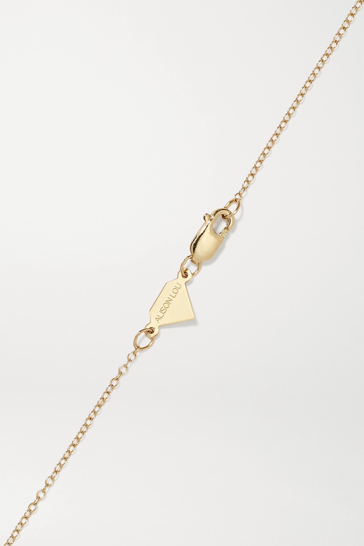 Alison Lou Cross 14-karat gold, diamond and enamel necklace