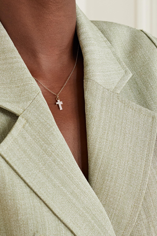 Alison Lou Cross Kette aus 14 Karat Gold mit Diamanten und Emaille