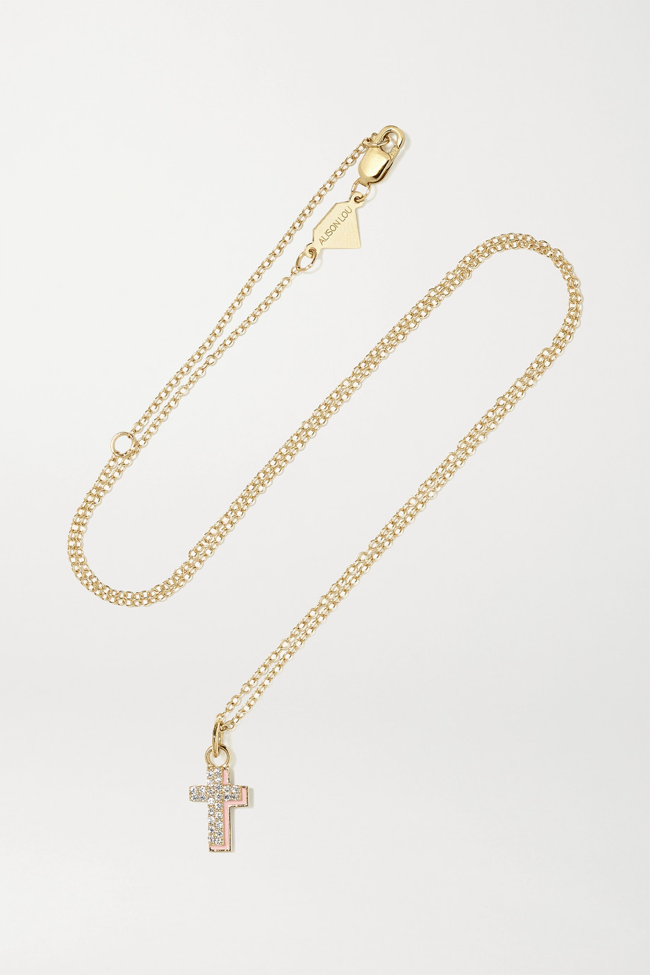 Alison Lou Cross 14-karat gold, diamond and enamel necklace