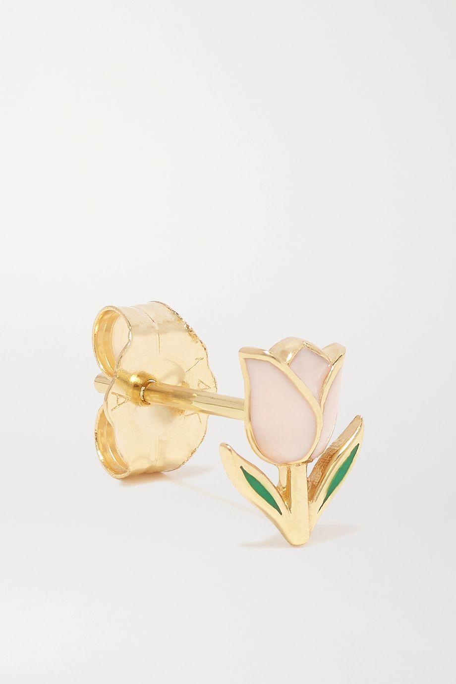 Alison Lou Tulip Ohrring aus 14 Karat Gold mit Emaille