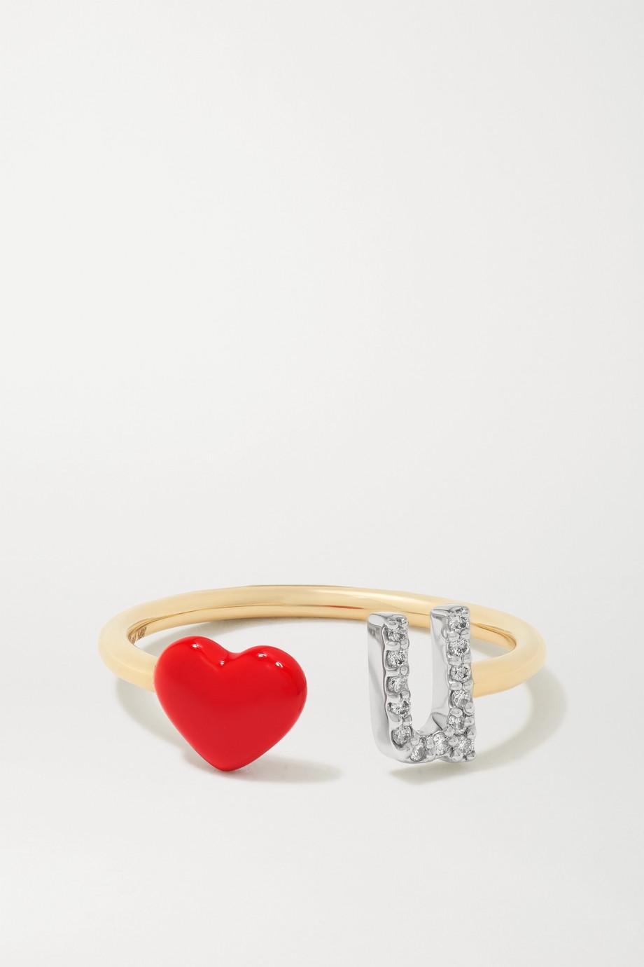Alison Lou Love U 14-karat gold, diamond and enamel ring