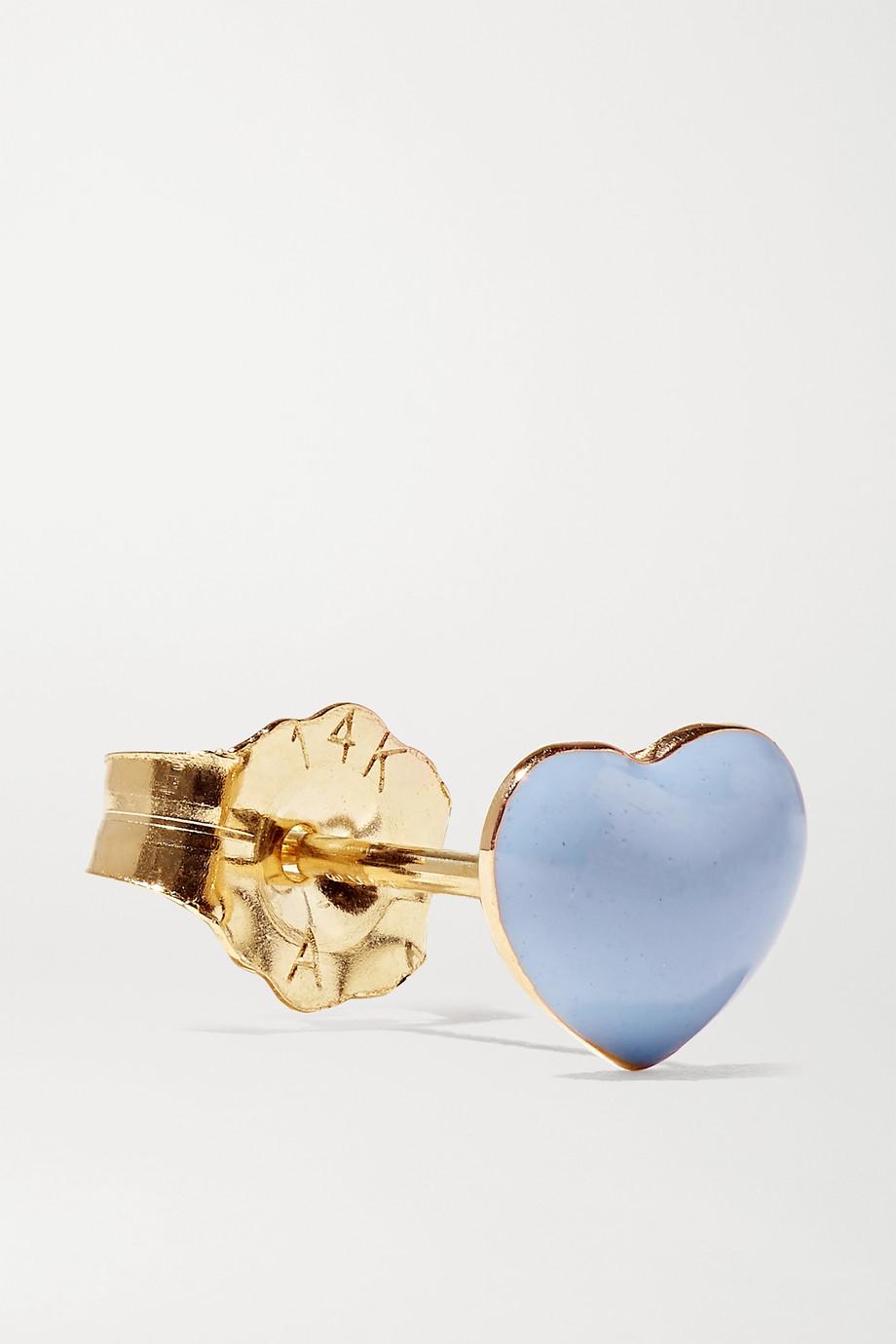 Alison Lou Mini Puffy Heart Ohrring aus 14 Karat Gold mit Emaille