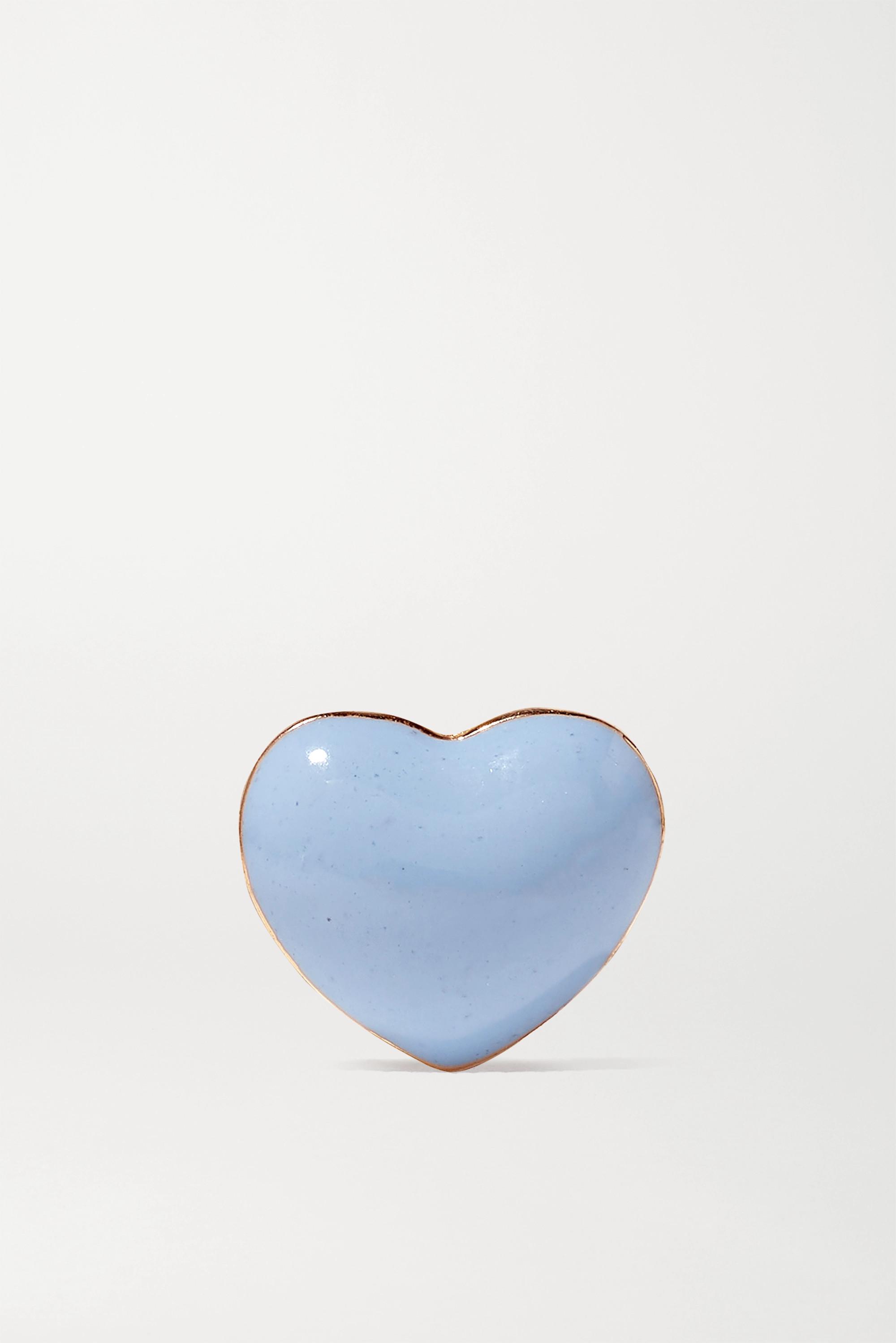 Alison Lou Mini Puffy Heart 14-karat gold enamel earring
