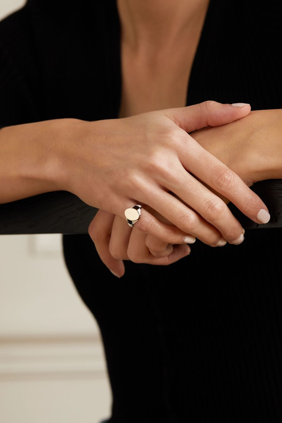 Alison Lou Checker 14-karat gold and enamel ring