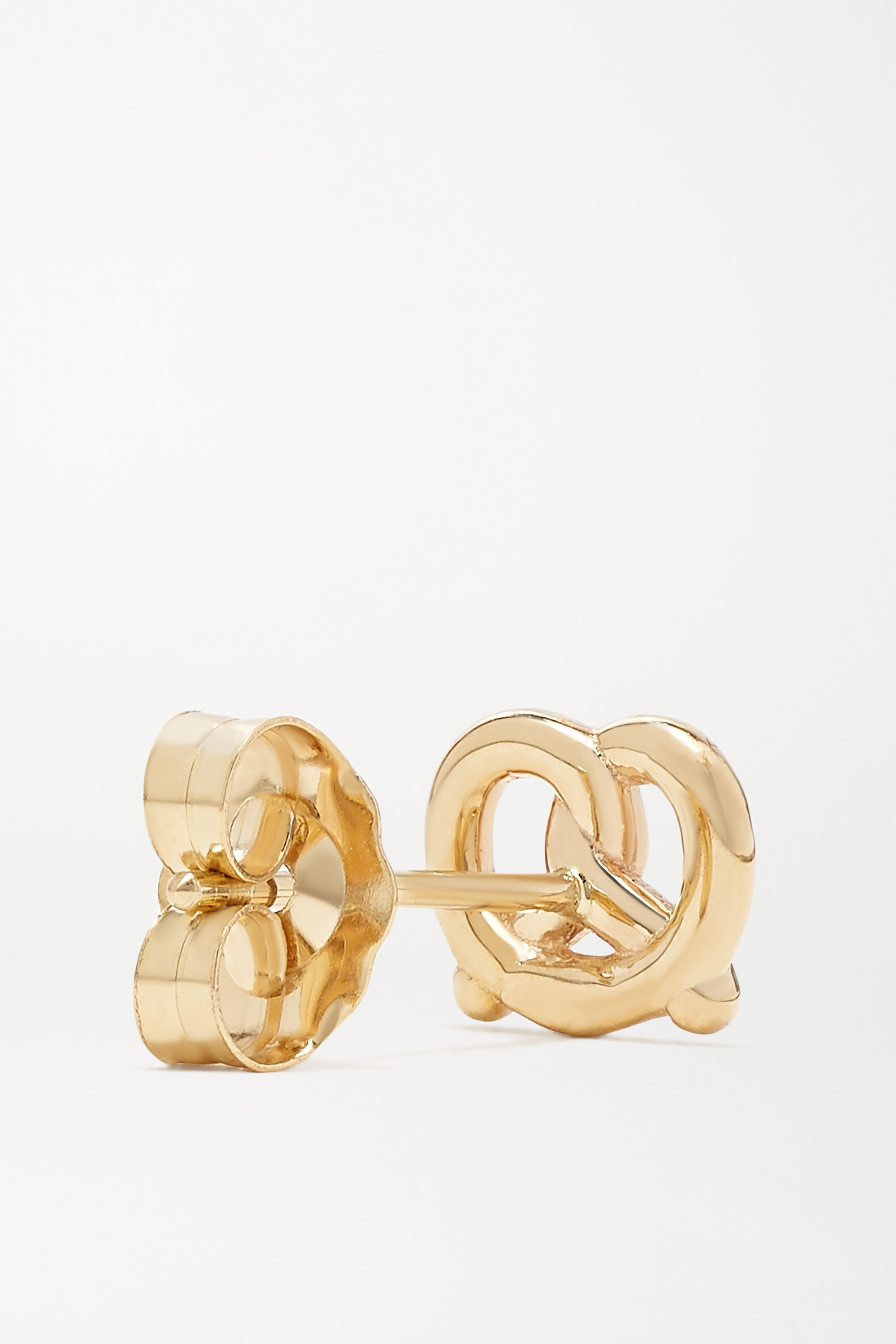 Alison Lou Pretzel 14-karat gold and enamel earring