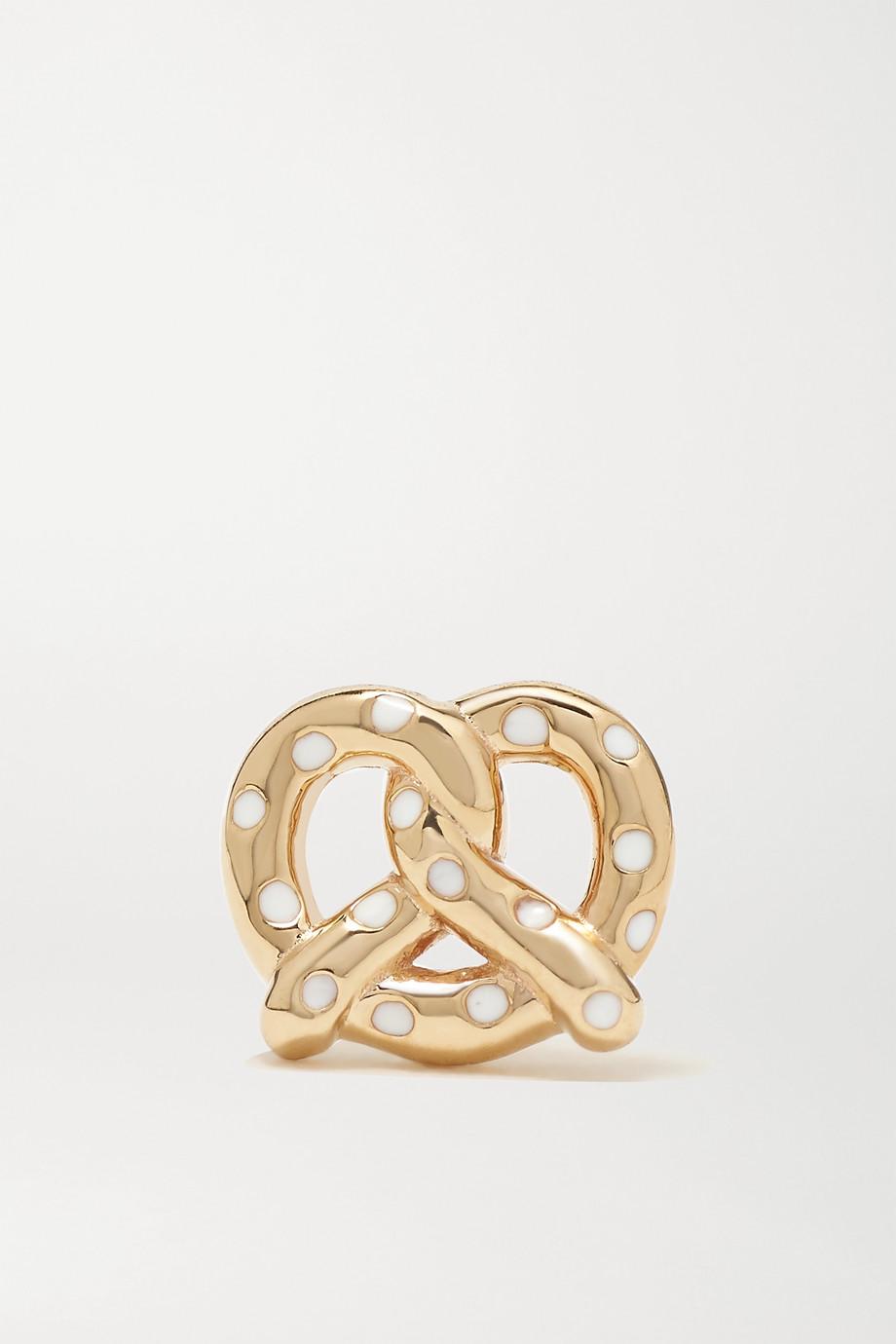 Alison Lou Pretzel 14-karat gold and enamel earring