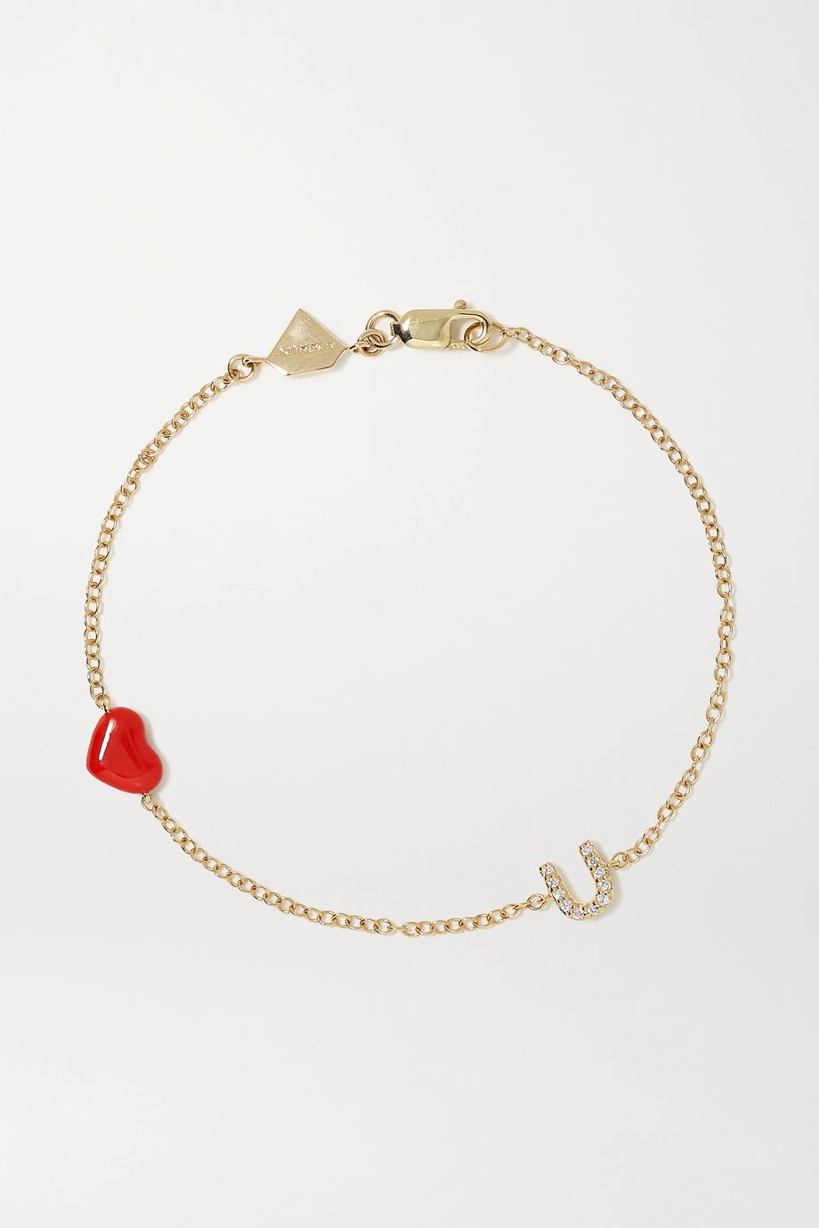 Alison Lou Bracelet en or 14 carats, diamants et émail Love U