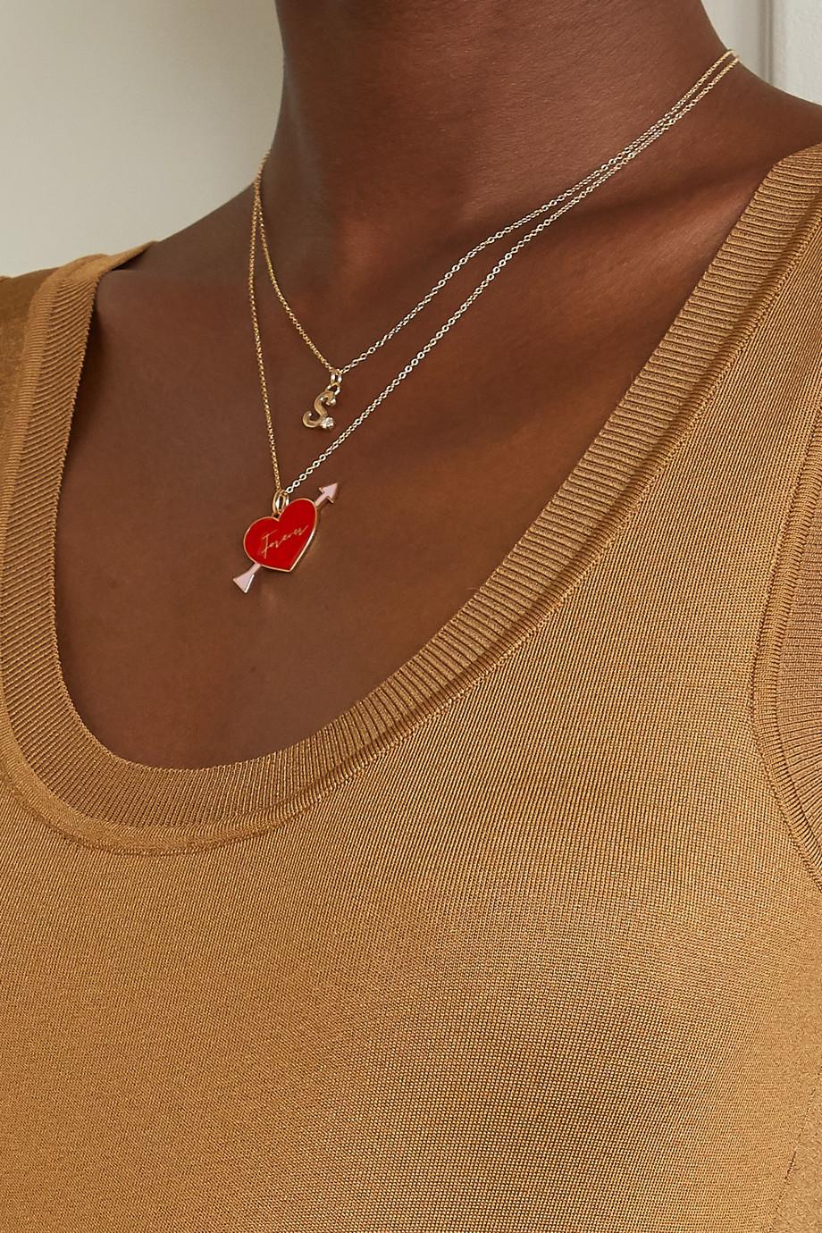 Alison Lou Love Forever 14-karat gold and enamel necklace