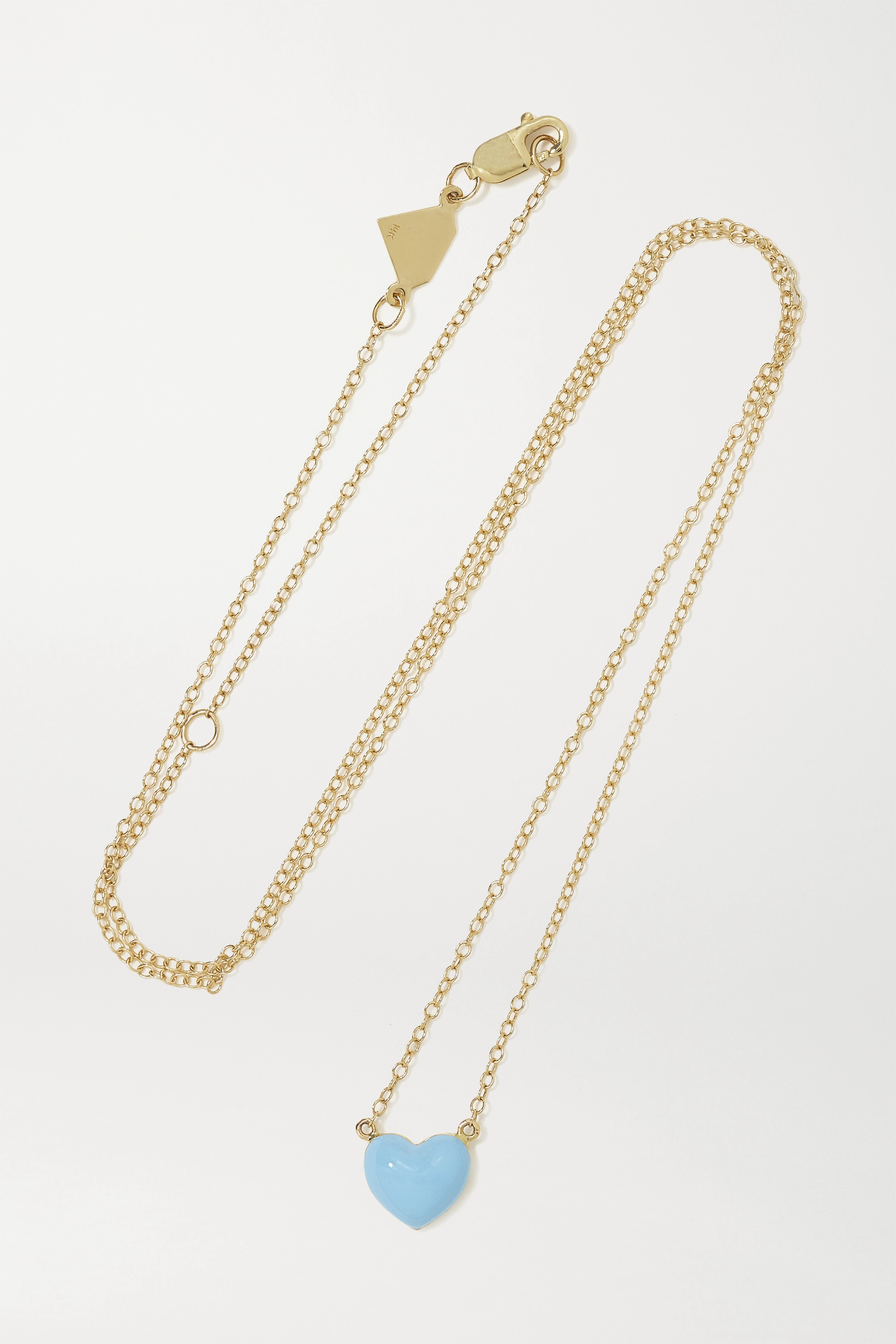 Alison Lou Heart 14-karat gold and enamel necklace