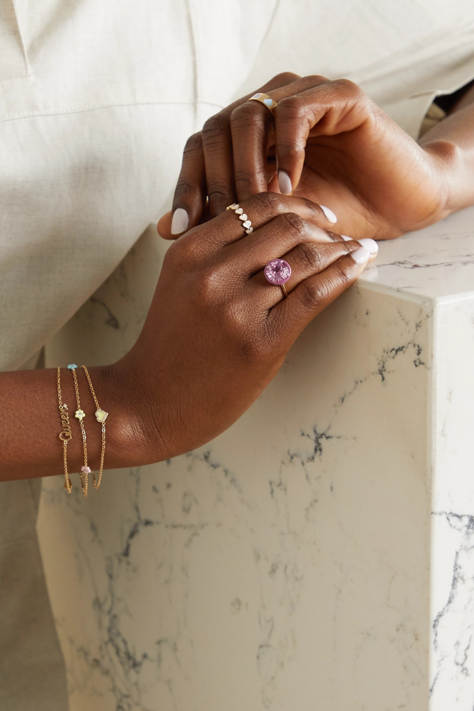 Alison Lou 14-karat gold, sapphire and enamel ring