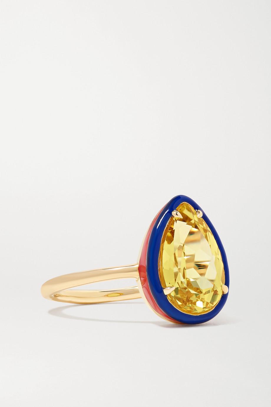 Alison Lou 14-karat gold, enamel and sapphire ring