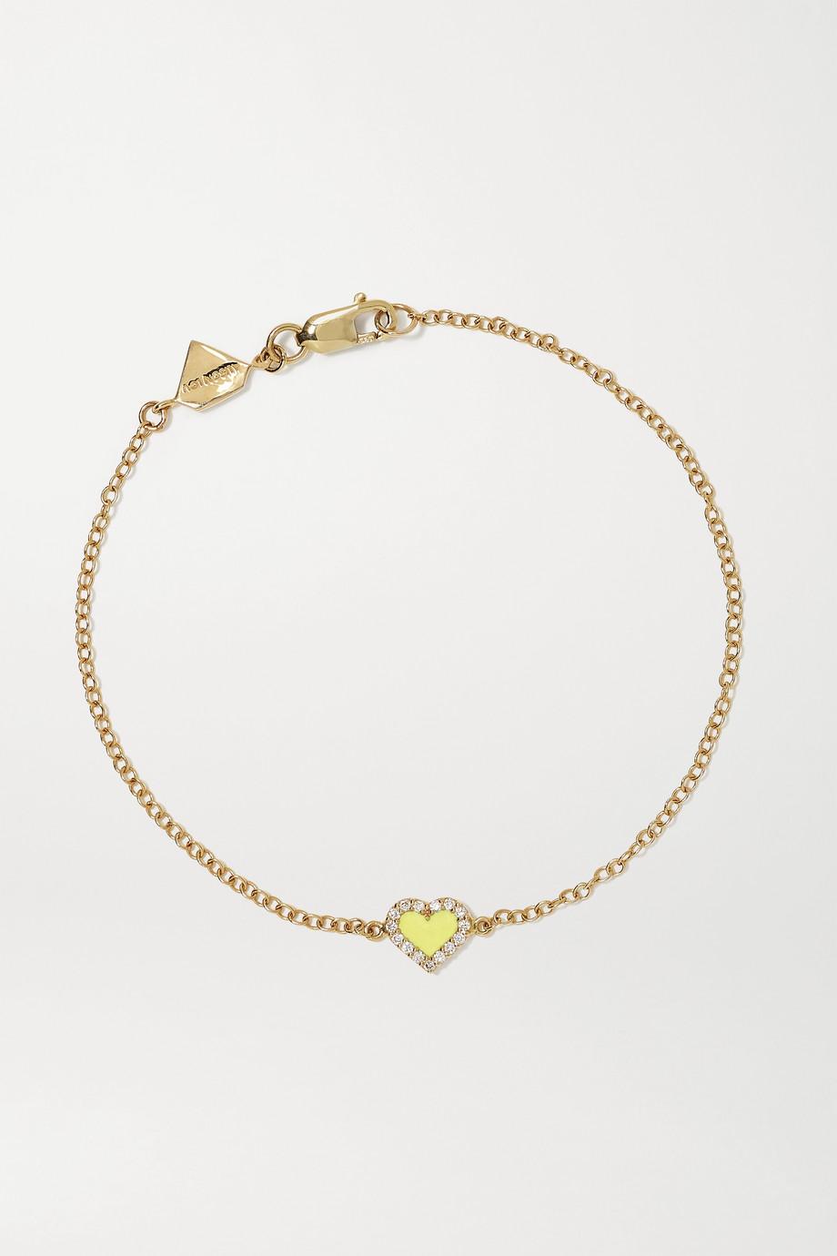 Alison Lou Heart Armband aus 14 Karat Gold mit Diamanten und Emaille