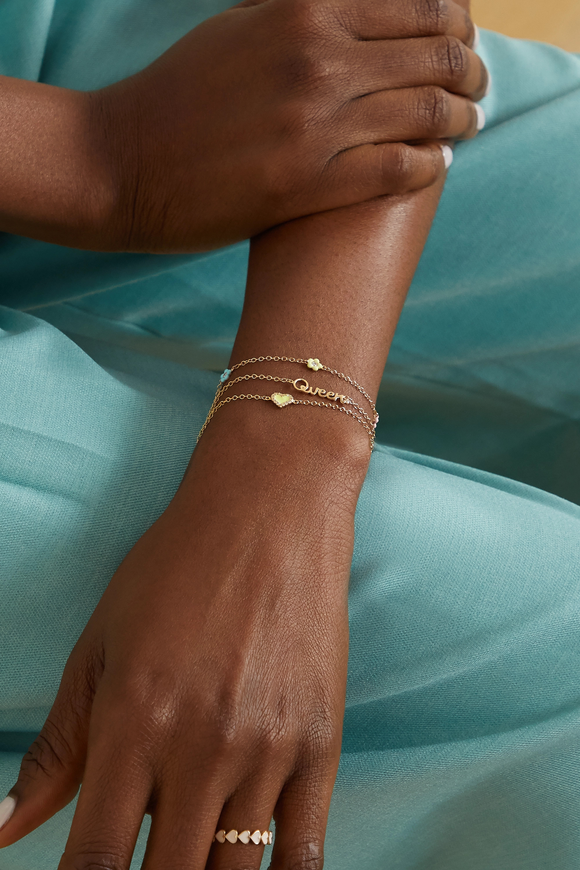 Alison Lou Heart 14-karat gold, diamond and enamel bracelet