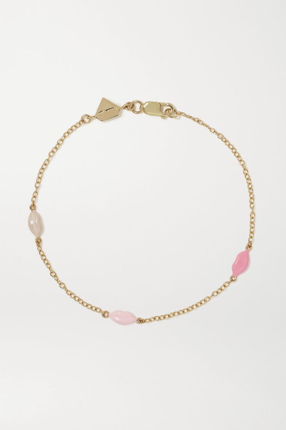 Alison Lou Mini Lip By The Yard Armband aus 14 Karat Gold mit Emaille